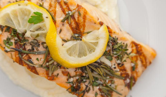 Cooked lemon pepper salmon