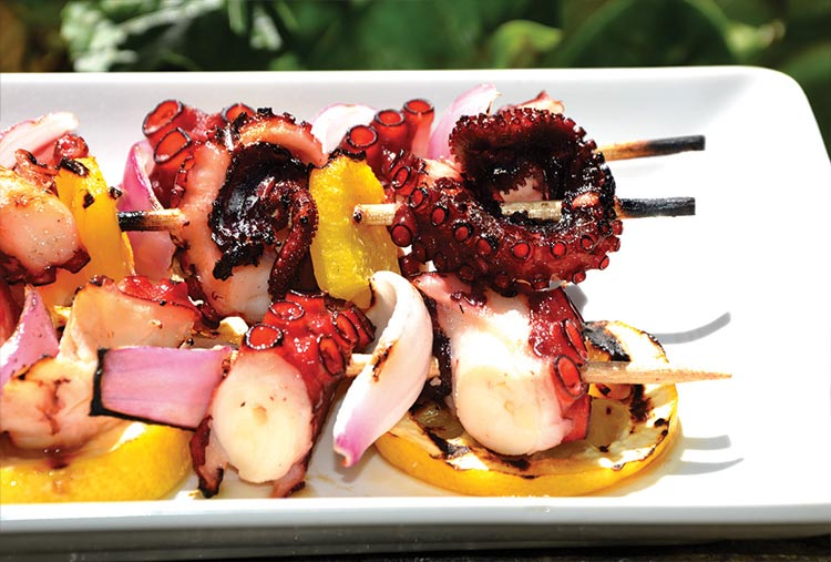 Octopus on skewers