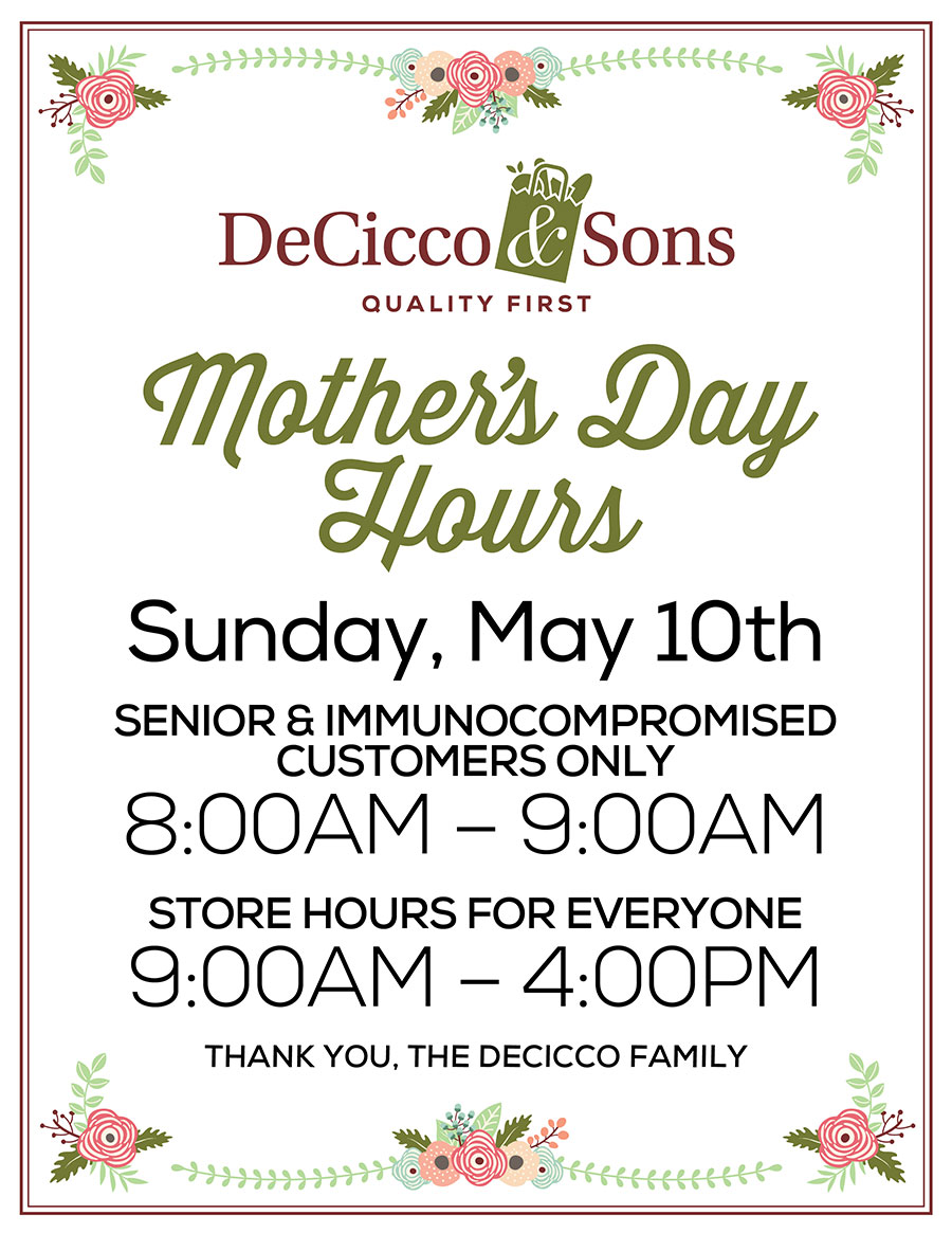 Mother's Day Shopping Hours