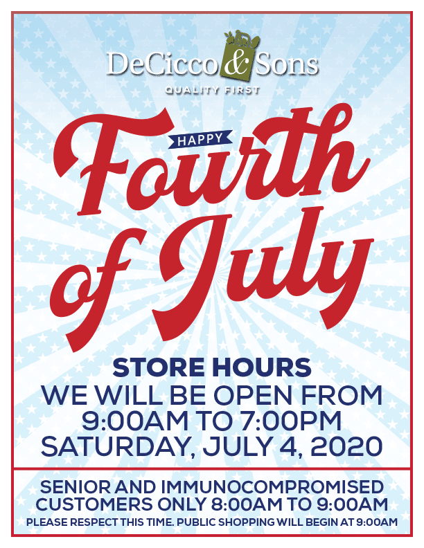 Fourth of July Hours. 9am to 7pm