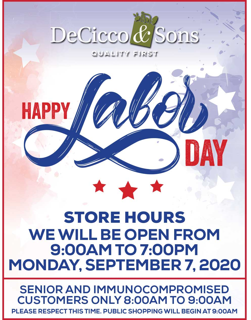 labor day hours open from 9am to 7pm monday september 7th 2020