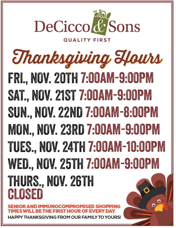 Thanksgiving 2020 hours