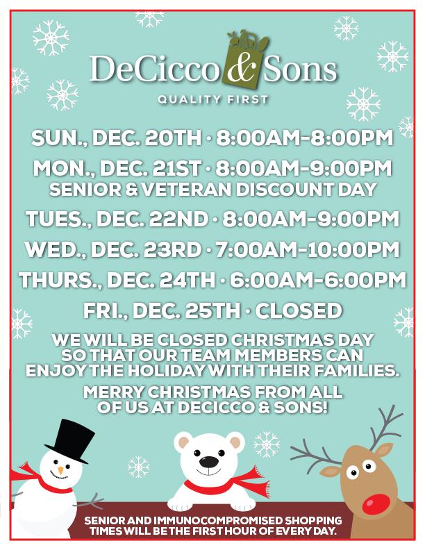 Deciccos Brewster Christmas Hours
