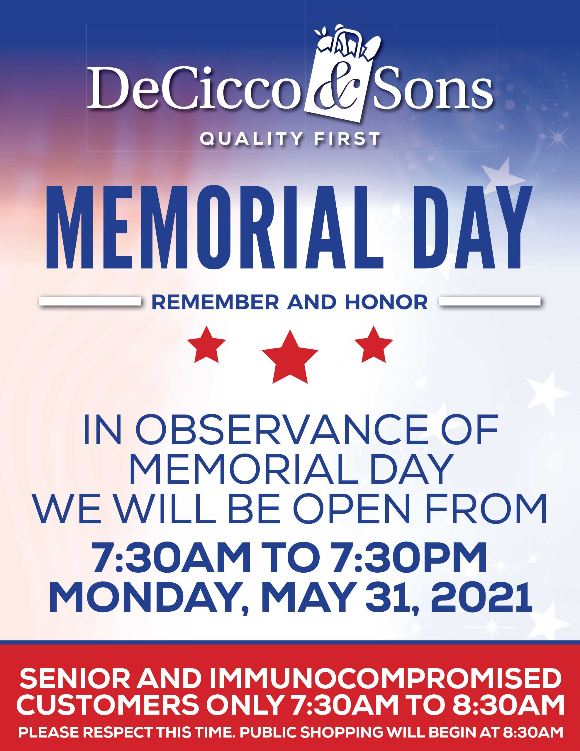 Memorial Day Westchester Hours - open from 7:30am to 7:30pm